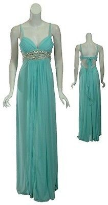 MARY L. COUTURE Angelic Rhinestone Aqua Fine Knit Evening Gown Dress