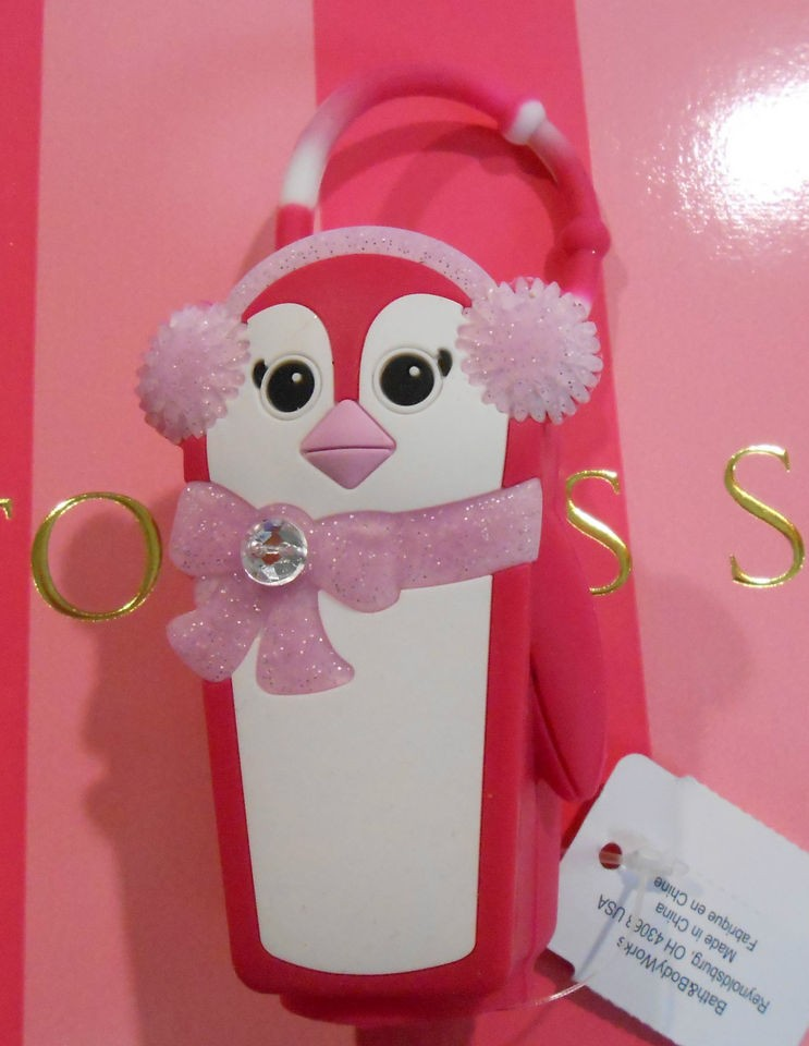 Bath & Body Works PocketBac Holder pink Penguin for hand sanitizer NEW
