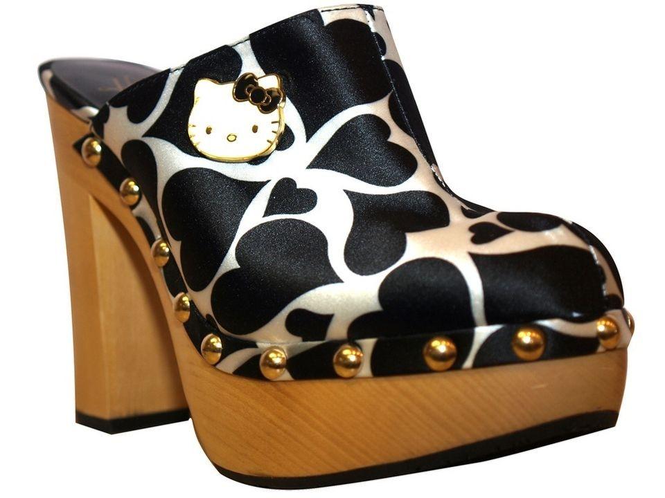 Twenty10 Hello Kitty Adelina Black Heart High Heel Platforms Wooden