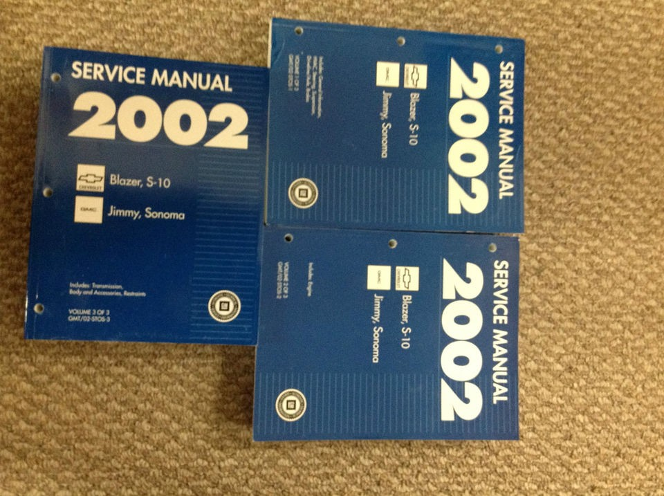 2002 CHEVY S 10 BLAZER GMC JIMMY SONOMA Service Shop Repair Manual SET