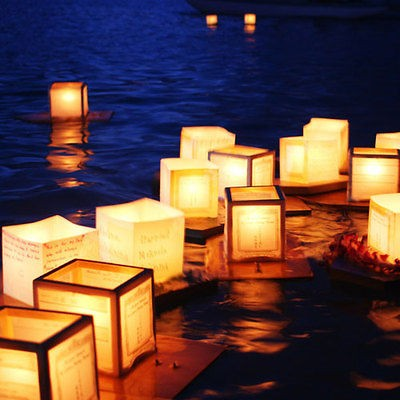 Floating Water Light Paper Candle Lotus Lanterns Chinese Wishing Lamp