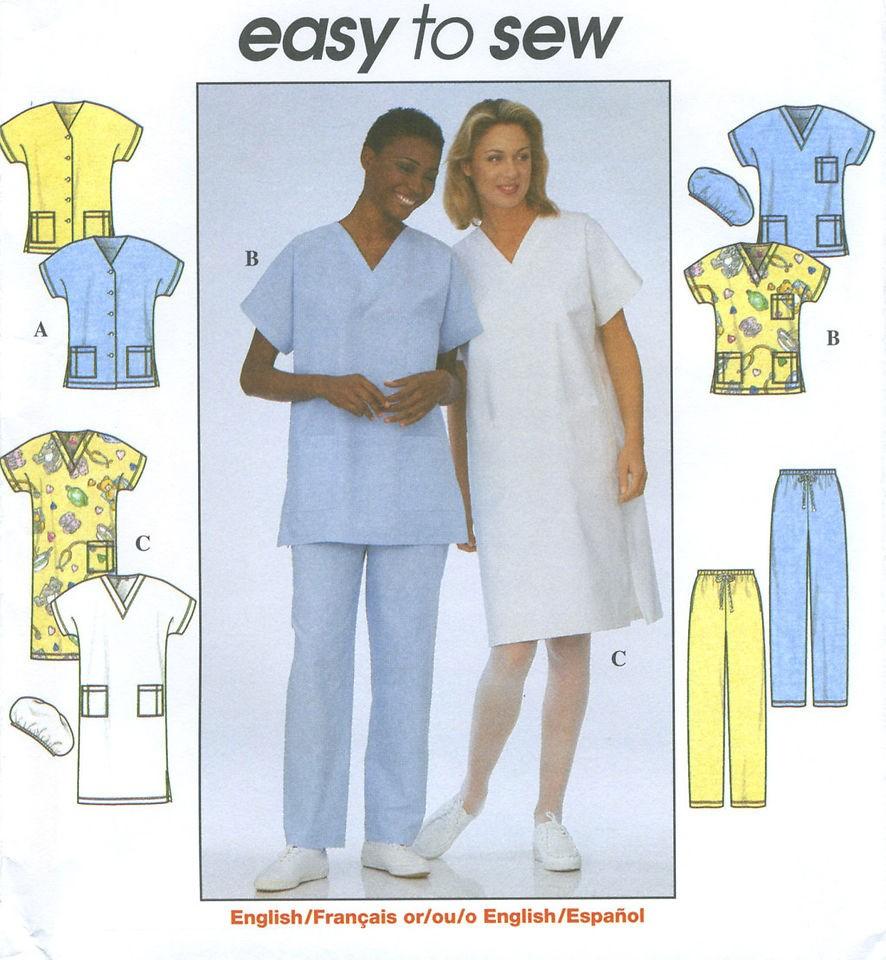 Misses Uniform Scrubs Top Dress Pants Hat Sewing Pattern V Neck Kimono
