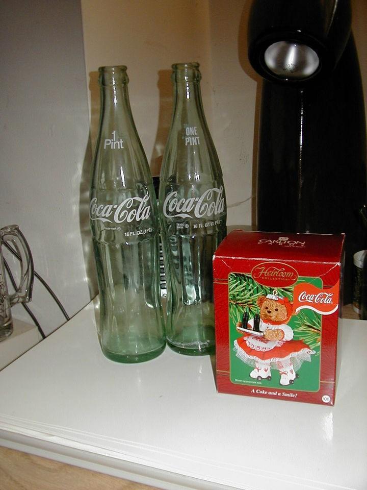 coke pepsi sprite 7 up COCA COLA BEAR ORNAMENT AND 2 VINTAGE COKE