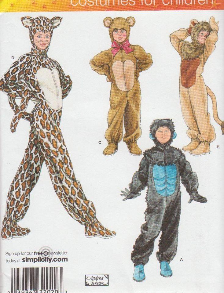 COSTUME Pattern XS L 3 16 CHILD Lion Cat Bear NEW sewing FUR full body