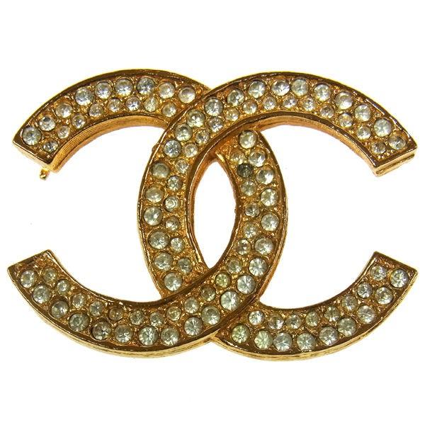 CHANEL Vintage CC Logos Rhinestone Brooch Pin Gold tone P03088d