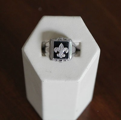 Vintage Sterling Silver & Onyx Boy Scouts of America Ring 1940s