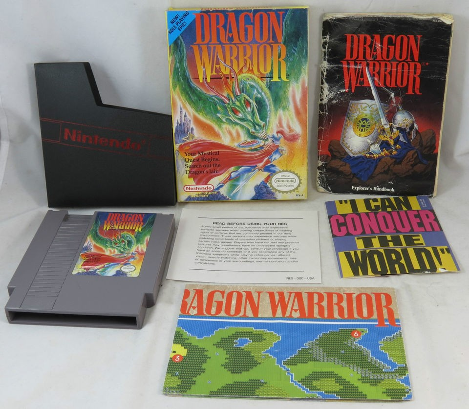 Nintendo NES Dragon Warrior w/ Manual, Map, and Box Video Game