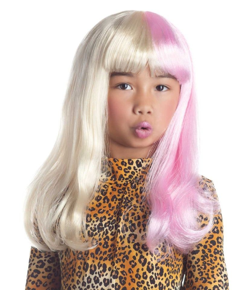tone Wig Pink White Nicki Minaj Costume Nicky Child Kids Girls Long