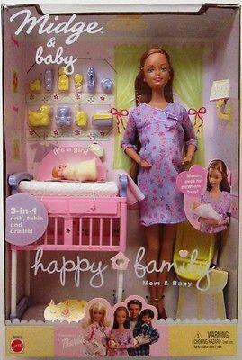 Barbie Happy Family Pregnant Midge and Baby Dolls (New)