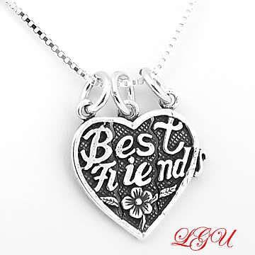 SILVER 3 WAY SPLIT BEST FRIEND HEART w/18 BOX NECKLACE