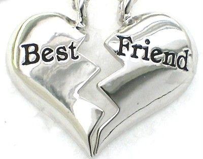 New ♥ BEST FRIEND ♥♥ Heart Silvertone 2 Pendant & 2 Necklaces