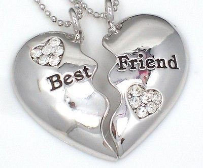 BEST FRIEND Heart Silvertone 2 Charms & 2 Necklaces BFF Fast Ship USA