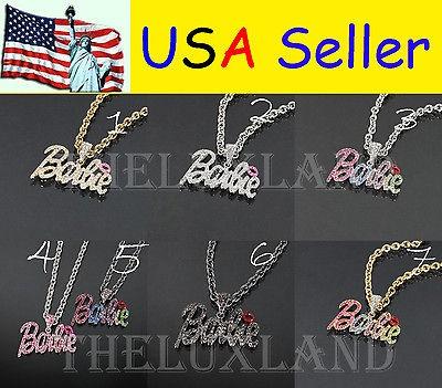 Shimmering Crystal Bling Nicki Minaj 2 BARBIE Necklace 7 Colors