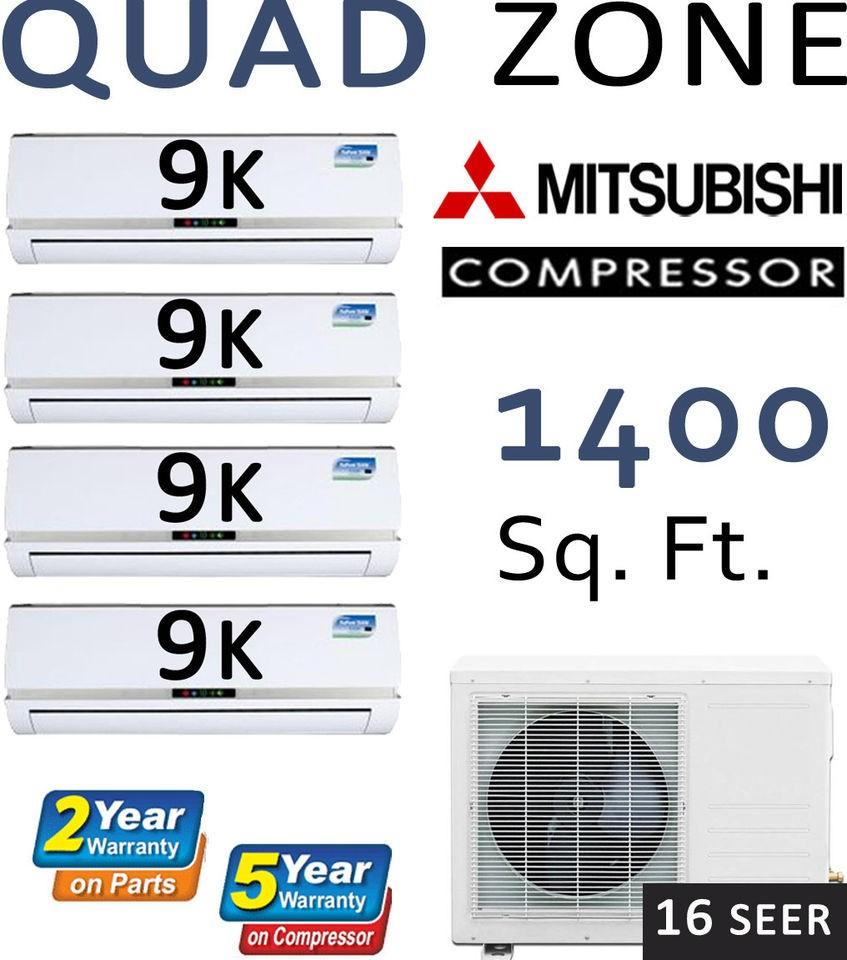QUAD Zone Ductless Mini Split Air Conditioner, Heat Pump 36000 BTU