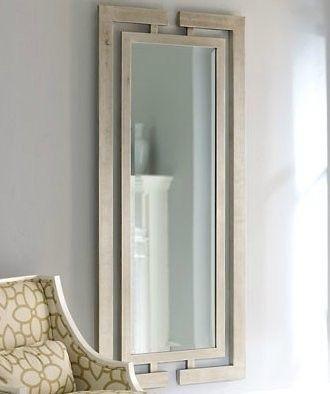 Contemporary Silver Leaf Wall Mirror Modern Luxury Full Length Wood