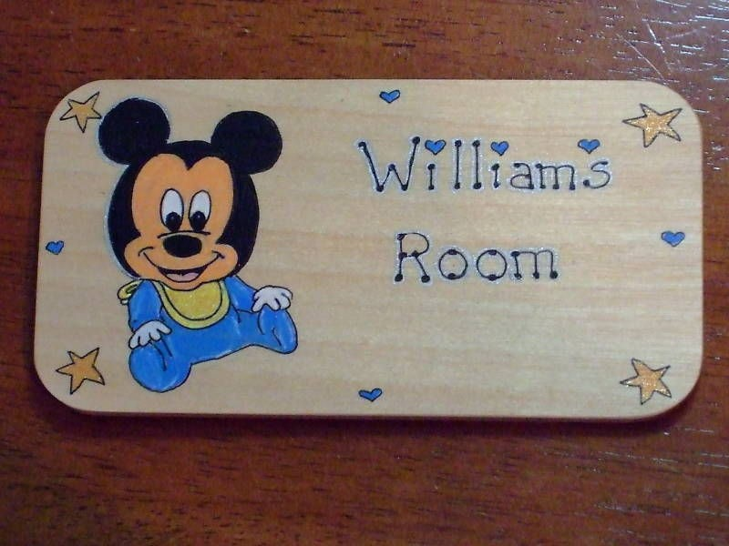 baby Mickey Mouse Room Door Sign Plaque Personalised
