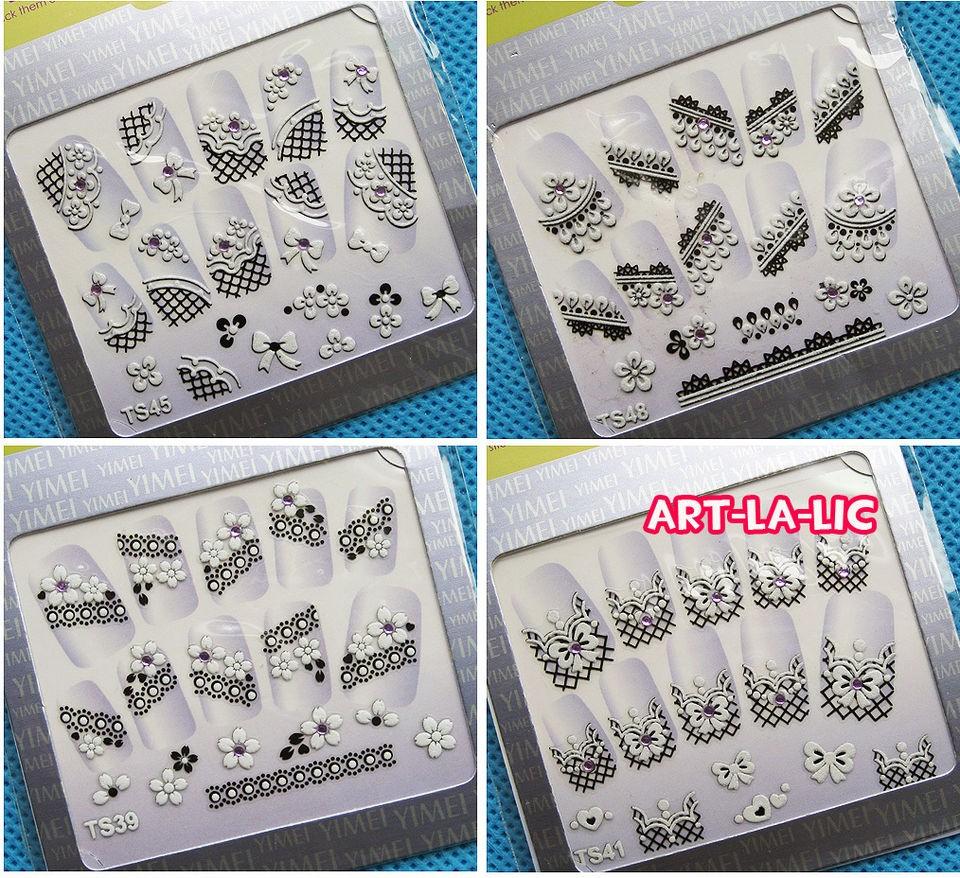 10 Sheets Black & White Gems 3D Decal Stickers Nail Art Manicure Tips