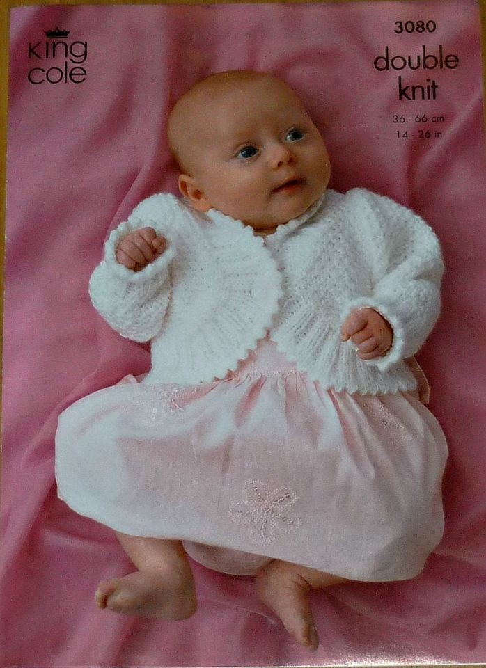 Knitting Pattern Baby Bolero Cardigan DK King Cole