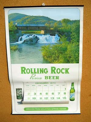 Rolling Rock Beer Sign Calendar 1973   1974 Latrobe PA Vintage