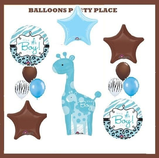 SAFARI BOY baby shower party decorations blue giraffe BALLOONS ANIMAL