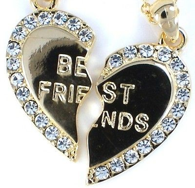 New BEST FRIEND Gold Tone Crystal 2 Pendants & 2 Necklaces BFF