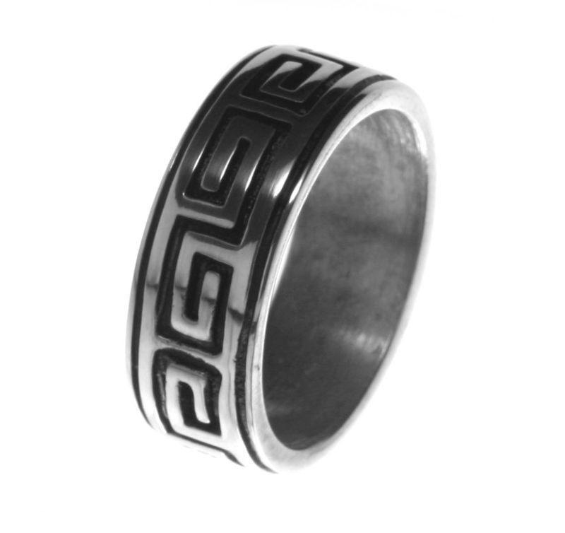 Newly listed Alpaca Silver Ring R4 Greek Key Maze Labyrinth Size 10