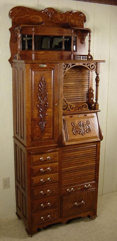 Antique Oak Harvard Co Dental Cabinet Model 44x