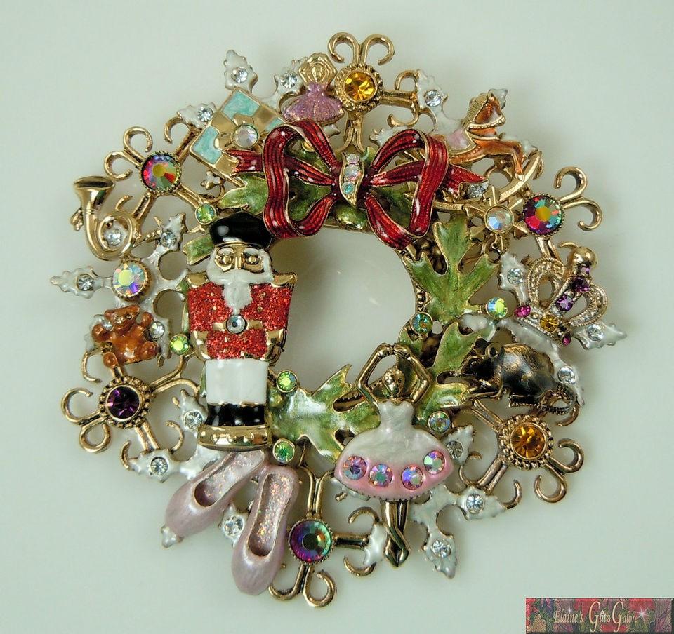 Kirks Folly Nutcracker Suite Wreath Pin / Pendant