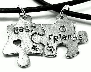 pewter best friends on 20 black leather 2 necklaces one