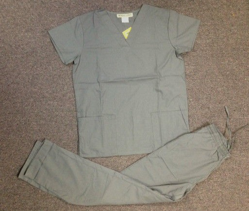 New Medical Nursing Scrub Solid Set Steel Gray, Top and Pant Sizes