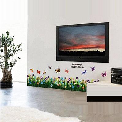 Butterfly Grass Flower Wall Sticker Decor Decals Art Sitting Room