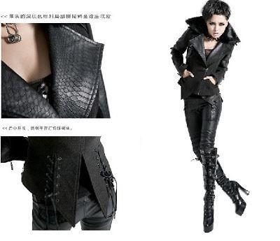 Punk Gothic Visual kei Rock Black Crocodile leather Jacket Coat XL