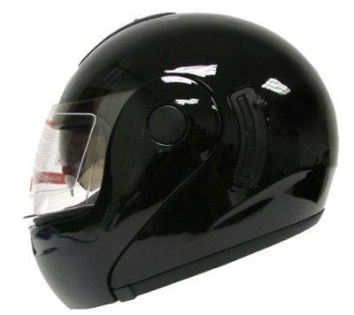 FLIP UP MODULAR FULL FACE MOTORCYCLE HELMET GLOSS BLACK DUAL SHIELD