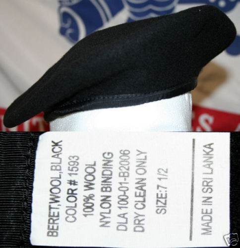 mil spec army black wool beret formerly ranger 7 1