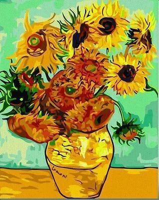 Vtg paint by numbers 16*20 kit DIY painting Van Gogh Sunflower #2