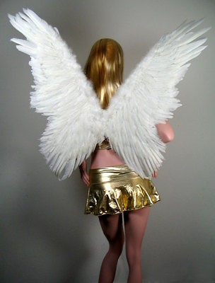 LARGE White Butterfly Feather Angel Wings + FREE HALO Halloween Fun