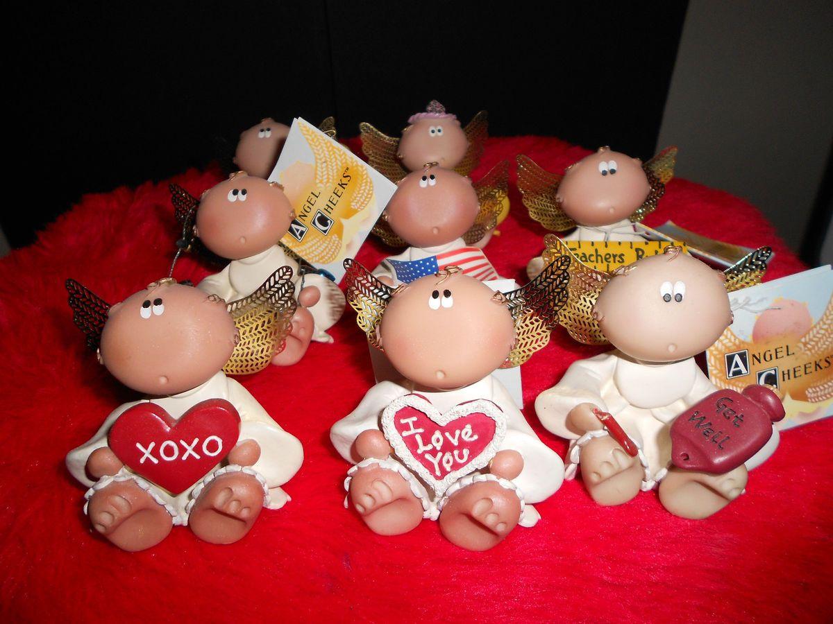 Group of 8 Angel Cheeks Figurines Valentines Day Birthday Holidays Etc