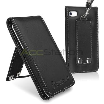 Black Leather Flip Case Cover Pouch for iPod Touch 4 4G 4th Gen