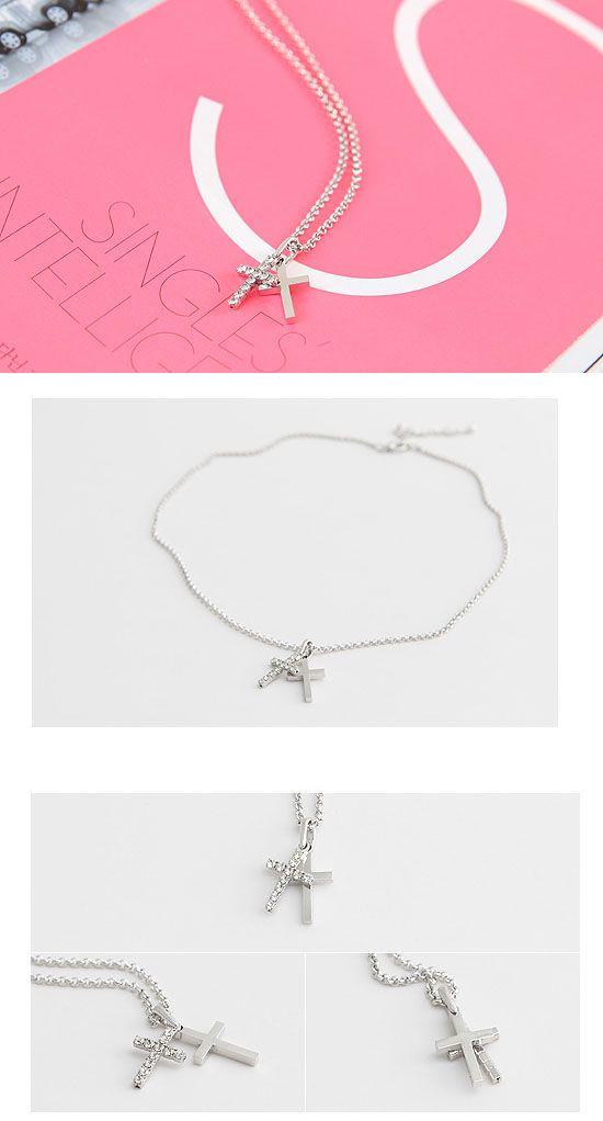 Korea Star Accessories Super Junior Eunhyuk Double Cross Necklace