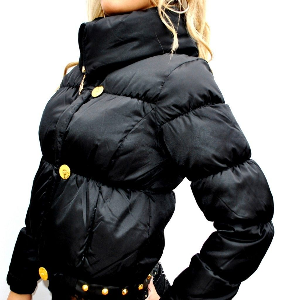 New Womens Baby Phat Jacket Coat Black Gold Large L