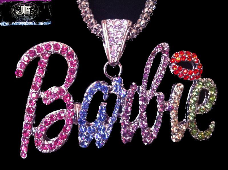 Nicki Minaj 3 Barbie Iced Out Necklace Silver Multi Red Lips