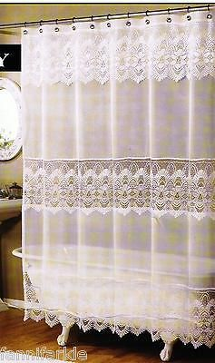 WHITE SHEER LACE FABRIC SHOWER CURTAIN W FAUX SCALLOPED MACRAME BANDS