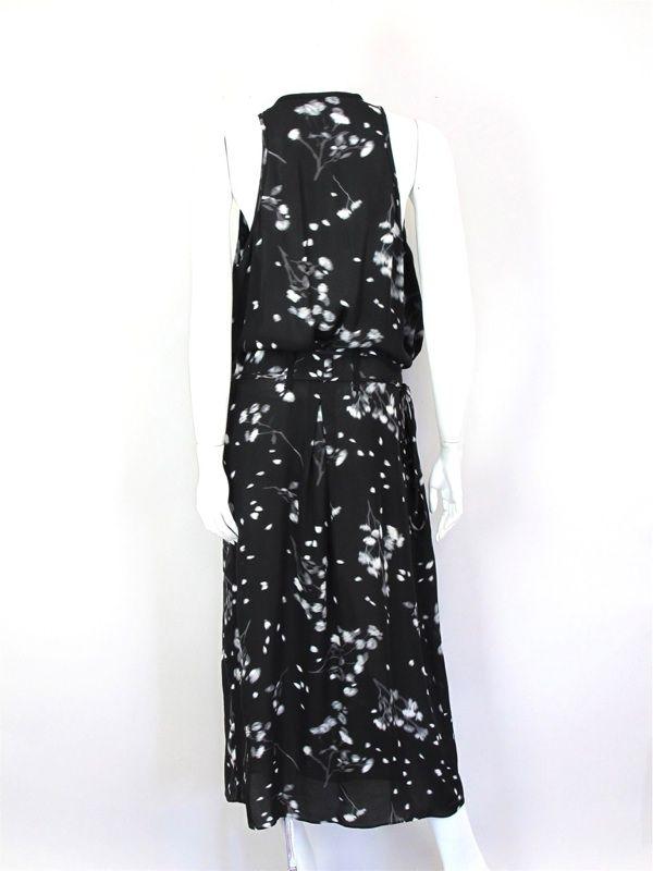 15 310 A.L.C. at SOCIALITE AUCTIONS Black Floral Print Wrap Dress Sz L
