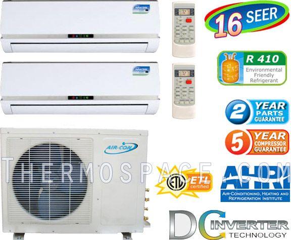 42000 BTU Dual Zone Mini Ductless Split Air Conditioner Heat Pump