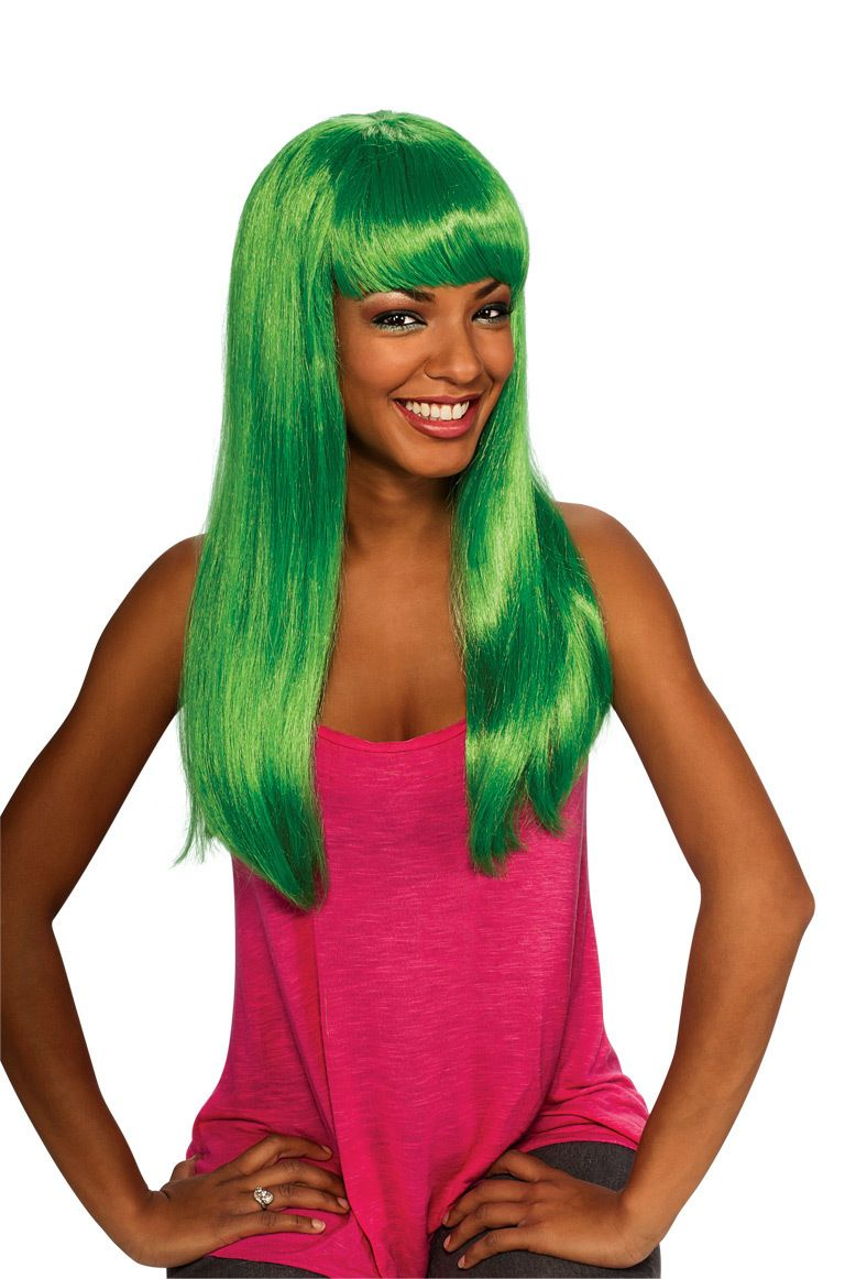 Womens Long Green Wig Mermaid Hair Costume Sexy Aqua Bangs Nicki Minaj