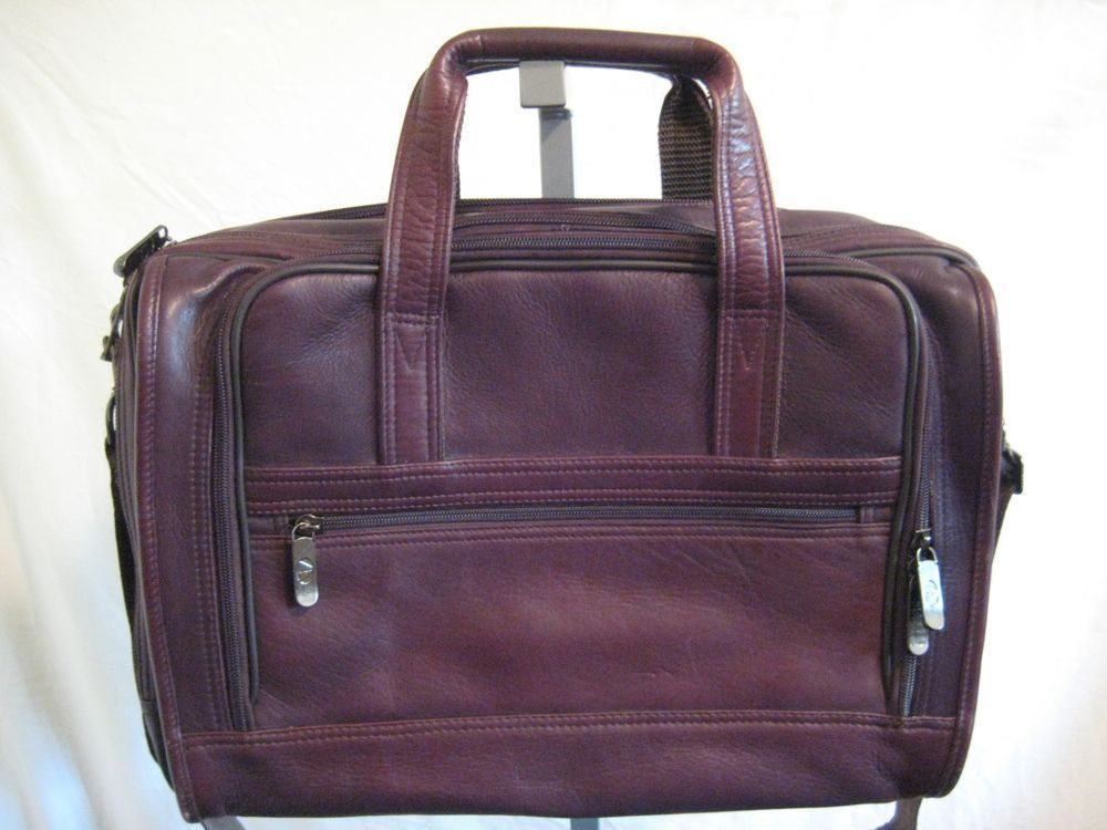 Avenues America Large Brown Leather Briefcase Attache ...