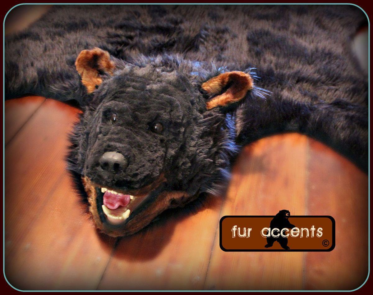 BEAR SKIN ACCENT RUG BLACK FAUX FUR PELT RUGS LOG CABIN DECOR FAKE