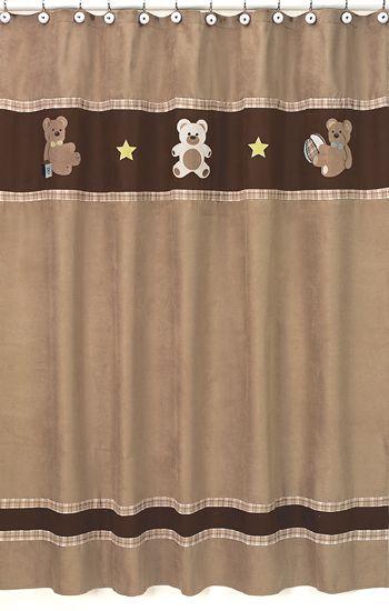 JoJo Teddy Bear Brown Kids Boys Fabric Shower Curtain