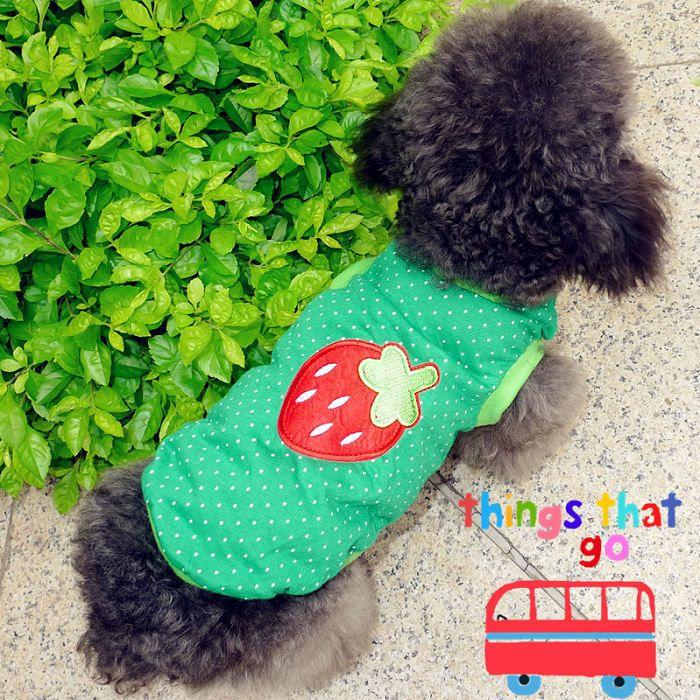 New Pet Dog Cat green big strawberry dog Shirt Clothes Apparel Pet