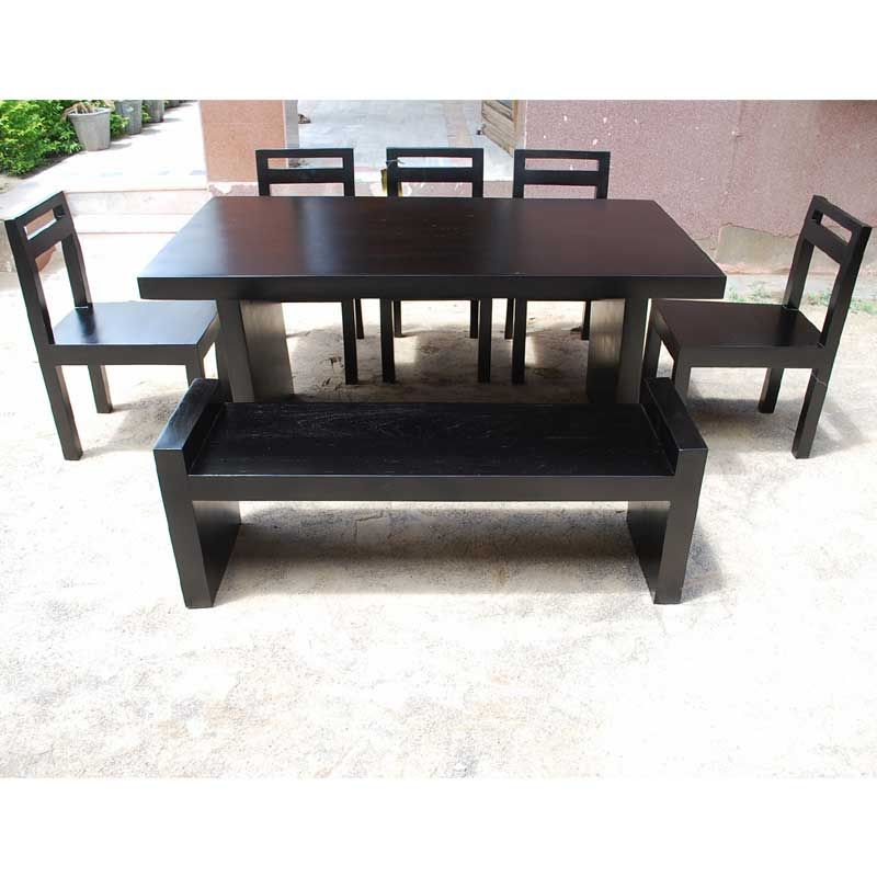 Wood Black Dining Table 5 Chairs Set Furniture with Bench New